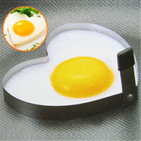 Wholesale 2PCS Heart Shaped Fried Egg Apparatus Creative Type Stainless Steel Heart Fried Home Supplies Kitchen Supplies