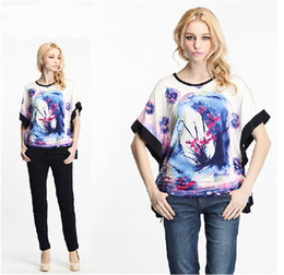 Wholesale 2014 new Chinese style ink printing waist bat sleeve T shirts women casual cotton loose shirts freeshipping YG344
