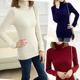 Wholesale Knitted Sweater Lace Ladies Winter Autumn High Collar Long sleeve Cotton Blend Korean W4362