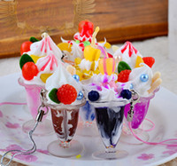 Wholesale L7cm simulation Goblet ice cream cupcake phone charm Squishies colorful fashion party gift mix color order