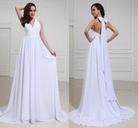 Wholesale Beach Chiffon Wedding Dresses Sexy V neck Halter Bow A line Sweep Train Bridal Gowns Beaded Sequins Cheap Informal Custom Made New Hot
