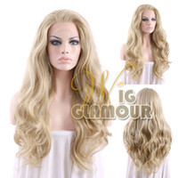 Mix Color heat resistant hair - Sexy Long Wavy Brown Mixed Ash Blonde quot quot Synthetic Lace Front Wig Heat Resistant Wig Color Style As the Picture Show Wig Glamour