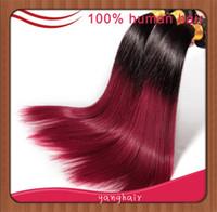Cheap 100g Ombre Hair Extensions Best Brazilian Hair Ombre Color 1b#/burgundy Brazilian Hair Straight