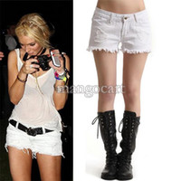 Wholesale Lowest Price Summer Shorts Women Casual Vintage Retro Women Girls Low Waist Hole Jeans Denim Sexy Shorts White b7 SV005176