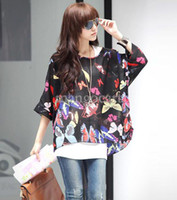 Cheap Hot Sale 2014 Women Spring Summer Bohemian Batwing Sleeve Flowers Printed Chiffon Shirt Tops Oversized Blouse Tees B12 SV000978