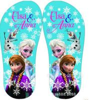 Wholesale Frozen Shoes Girls Sandals Princess Elsa Children Shoes Beach Sandals Frozen Flip Flops pairs frozen elsa shoes
