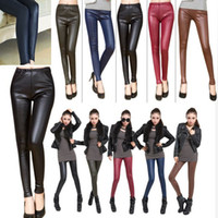 Cheap 1PC Hot Sale Skinny Faux Leather High Waist Leggings Stretch PU Material Pants Ladies Fashion Leather Leggings Drop Free