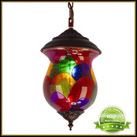 lamps stained glass - Modern LED Pendant Lights Dinning Room Lighting Fixtures Bohemian Countryside Iron Lamps AC110 V Colored Stained Glass Ceiling Lamp