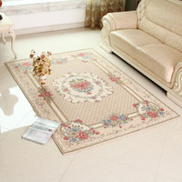 Wholesale Chic Flora Rug living room and Bedroom floor Mat Classic European Country Style Carpet A Beige X230cm