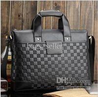 Wholesale Men Handbag Briefcase Embossed Brown Black Color PU Horizontal Shoulder Tote Style B4