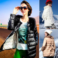 Wholesale 2014 New Winter For Women Down Parkas Fur Collar Brand Designer Jacket Coat Ladies Long Outerwear Jaqueta Feminina Plus Size2014 Winter