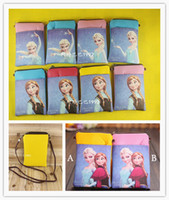 Wholesale Cartoon Coin wallet zipper holder Elsa Anna Wallet bag mini cross body money phone bag without Cover girls kids Christmas Gift FZ149