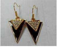 Wholesale Rose gold paint Autumn New triangular crystal hanging plating k earrings big earrings for women