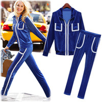 Cheap New fashion design women's casual sport suits with top cloth and long pants 2 pieces Corduroy material shipping free