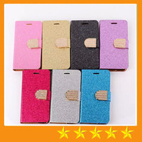 Cheap Fashion Shiny Bling Magnetic Wallet Case Flip Leather Stand Cover for iphone 4 4S iphone 5 5S 5C iphone 6 4.7 iphone 6 plus 5.5inch 50pcs