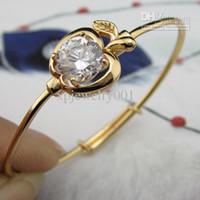 Wholesale k yellow Gold Filled Baby Bracelet Infant Bangle Apple czs Style GF Adjustable Bangle