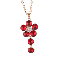 Cheap Hot European and American style Fashion flower shape sweater chainAlloy diamond necklace Pendant Fashion Jewelry 5 color options
