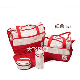 Wholesale 2014 Cheap Red Tote Diaper Bags Best Designer Durable Diaper Bags Polka Dot SET Diaper Bags for Baby High Quality and Cheap Mummy bags