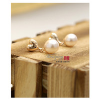 Wholesale 800 pearl heart earrings this year selling real gold plated hypoallergenic earrings jewelry