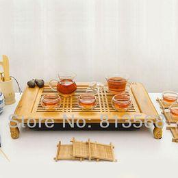 Wholesale High quality bamboo tea board glass tea set porcelain caddy exquisite bamboo tea tray new style household tea sets