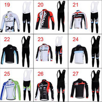 Wholesale 2014 Winter Thermal Fleece Mens Cycling Jerseys Fleece Polyester Long Sleeve Cycling Jersey Bib Long Padded Pants Lightweight Riding Clothes