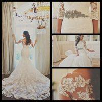 Wholesale Sheer Long Sleeves Lace Belero Sexy Sweetheart Mermaid Wedding Dress Organza Applique Beaded Bridal Gowns