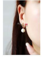 Wholesale 800 New asymmetry glossy peach heart pearl earrings earrings earrings elegant fashion jewelry