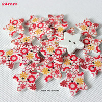 Cheap WHOLESALE(150PCS LOT) 2012 WOOD BUTTON WITH STAR SHAPE SEWING 24MM -SY0183