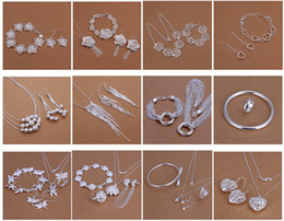Free Shipping with tracking number Best Most Hot sell Women's Delicate Gift Jewelry 925 Silver Plated Mix Jewelry Set 12 Set 1038