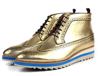 Cheap 2014 new gold mens casual shoes genuine leather fashion platform