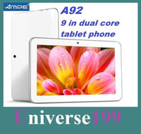 Wholesale 9 INCH dual core A23 phablet m GB Ampe A92 G GSM One card Phone tablet Android4 Dual Camera WIFI Tablet PC quad band phone tablet