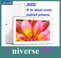 al por mayor 9 inch phablet-9 pulgadas de doble núcleo A23 phablet 512m / 8GB Ampe A92 2G / GSM Una tarjeta de teléfono de la tableta Android4.0 de doble cámara WiFi Tablet PC tableta del teléfono de cuatro bandas
