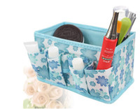 Cheap Free shipping 3pcs lot Fabric Folding Cosmetics Desktop Storage Box Desk collection box 5 colors SW078