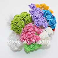 Wholesale cm head Multicolor Mulberry satin Flower Bouquet wire stem Scrapbooking artificial rose flowers