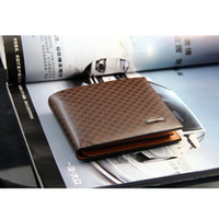Wholesale New Fashion Men s Male PU Leather Plaid Wallet Vintage Denim Wallet Casual Pockets Card Collector holder Bifold Purse Coffee
