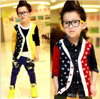 Cheap Lowest Price Boys Crochet Cardigan Children's Clothing Cotton Stars OverCoat Outwear Boy Jackets Over Coat Clothes Yellow Red 100-140cm