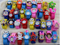 Wholesale DHL Cute Cartoon Style Mix Order Children Kids Teens rubber Wristwatch Spiderman Minions Car Birds Bear Children Slap Watch Gift