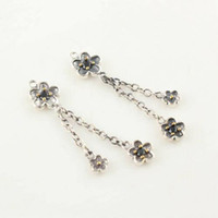 Cheap Wholesale 100% Solid 925 Sterling Silver Charm Earrings ERP004 Plum Blossom Dangle Earring Suitable For Pandora Jewelry