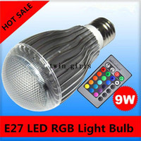Wholesale New LED Lighting W RGB Light Bulb E27 LED RGB Light Bulb Colorful Million Colors Bulbs key Remote Control AC90 V