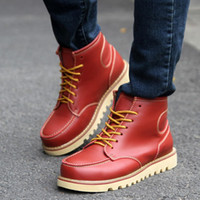 Cheap Charm Men Leather Ankle Martin Boots EU 39-43 Strong Lace-up Design Fashion Footwear 2014 New Arrival Man Casual Shoes