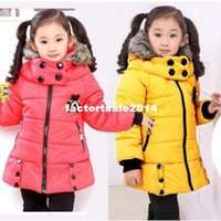 Coat winter coat - Retail winter children down coat cute girls fur collar plus velvet coat thick warm cartoon jacket color for Years