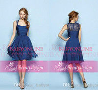 Wholesale Navy blue charming knee length custom made convertible bridesmaid dresses spaghetti straps lace zipper back short prom party gowns BO5939