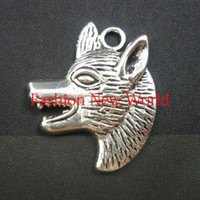 Wholesale Wholesaling wolf head charms plated Pendant Fit Jewelry making findings crafts CP0434
