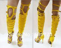 designer sheepskin boots - 2013 Designer brand Gladiator boot with heels over the knee buckle strappy high heel bootie sheepskin sexy shoes