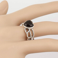 Cheap Wholesale New Arrival 1:1 Original 925 Sterling Silver Rings RIP040 Black Heart Stone Multi-layer ring Suitable For European Pandora Jewelry