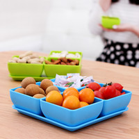 Wholesale Y334 Colorful candy colored tableware and more fruits and vegetables can be hand held snack tray compote classification Kit