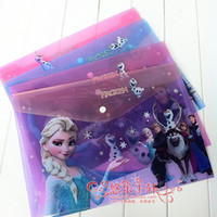 Wholesale New student paper bags creative stationery cute cartoon buckle bag of ice and snow Romance a4 document folder sets
