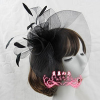 hat band - bridal hats European and American headdress wedding party performances bows feather head flower hair band B2054
