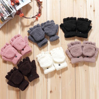 Wholesale Min order is E8279 female winter multifunctional semi finger flip thermal gloves coral fleece flip semi finger keyboard