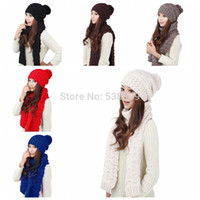 Wholesale Ladies Women Knitted Scarf And Hat Set Winter Girl Knitting Scraves Cap Excluding Gloves